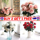 10 Heads Silk Rose Artificial Flowers Fake Bouquet Wedding Home Party Decor Ttau