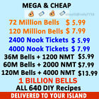 Nook Miles Tickets , Bells ⚡️Customized⚡️DELIVERED TO YOUR ISLAND⚡️ ALL 640 DIYs