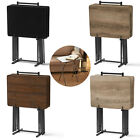 5 Piece Folding Table Set TV Tray Small Wood Card Desk Portable Laptop Stand