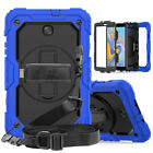 Rugged Rubber Shoulder Strap Hard Stand Case For Samsung Galaxy Tab A 8.0 10.5