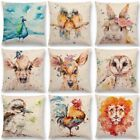 Watercolor Deer Cotton Linen Pillow Case Home Decor Sofa Waist Cushion Cover