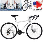 Unisex Adult Full Suspension Road Bike 21 Speed Disc Brakes 700c Outdoor Bicycle