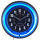 Sterling and Noble 11 Vibrant Blue Neon Analog Wall Clock