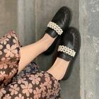 Womens Fashion Round Toe Pearls Grenadine Shoes Casual Slip On Loafers Q1169