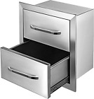 Mophorn 18x20.5 Inch Outdoor Kitchen Drawers Stainless Steel, Flush Mount Double
