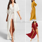 US Womens Summer Short Sleeve Holiday Tops Long Coat Jacket Kimono Cardigan Plus