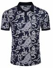 COOFANDY Mens Casual Short Sleeve Polo Shirts Slim Fit Paisley Polo Tee Floral P