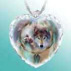 Fashion Women Animal 925 Silver Wolf Heart Necklace Natural Crystal Jewelry Gift