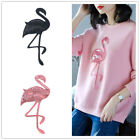 flamingo bird sequin embroidered patches sew on clothes animal applique crafY VV