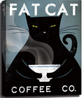 Vintage Black Fat Cat Coffee Co,Hand-Stretched Canvas Wall Art Print Poster,Cats