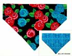 FLOWERS, Floral, DOG BANDANA Over Collar Reversible Bell Art Designs