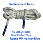 NEW Round Strings Shoe Laces 45 or 54 Inch White Blue Polish finish Metal Tips