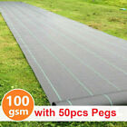 Heavy Duty Weed Control Fabric Membrane Garden Ground Cover Sheet Mat + 50 PEGS