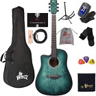 Left Handed 41 Inches Cutaway Acoustic Guitar Beginner Starter Bundle with Onlin for sale
