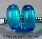 ROA Lampwork 2 Blue Spacer Lg Hole Art Glass Beads SRA