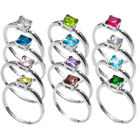 sterling silver CHILD'S PRINCESS CUT BIRTHSTONE ring
