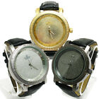 Silver Black or Gold Genuine Diamond Master Men's Watch