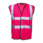 HOT NEON PINK Hi ViS SAFETY WAISTCOAT HIGH VIZ VEST