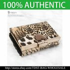[OMNIA]Crystal Ladies Genuine Leather Wallet Leopard Stripe Trifold Purse-KR365M image