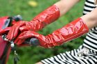 """40cm(15.7"""") long real patent leather evening gloves*red"""
