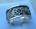 Wide Band Sun Crescent Moon .925 Sterling Silver Ring Size 6 7 8 10 11 12