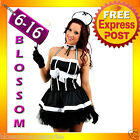 E47 French Maid Ladies Uniform Outfit Fancy Dress Up Costume + Duster
