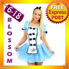 E48 Alice in Wonderland Ladies Disney Fancy Dress Up Halloween Costume Outfit
