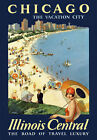 TR37 Vintage Chicago Illinois Central Travel Poster Re-Print A1 A2 A3
