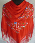 Red spanish flamenco shawl with multi coloured embroidery 66