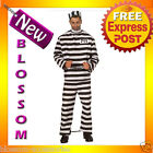 E76 Mens Convict Prisoner Jail Inmate Halloween Fancy Dress Up Costume M L XL