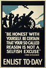WA11 Vintage WWI British Selfish Excuse Not To Enlist War Poster WW1 A1 A2 A3
