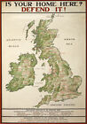 WA35 Vintage WWI British Map Your Home Defend It Recruitment Poster WW1 A1 A2 A3