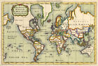 MP6 Vintage Old Historical 1766 World Map Poster Re-Print  A1 A2 A3