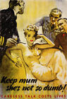 2W88 Vintage WWII  Careless Talk Keep Mum World War 2 WW2 Poster A2 A3