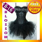 CC12 Black Swan Padded Satin Bustier Burlesque Corset Tutu Moulin Rouge Costume