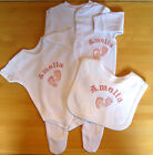 Personalised Feet Baby Gift Set Grow Vest Bib Boy Girl New Birth Christening