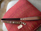 NEW american bull-dog leather padded handle lead with 3D brass head