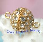 A Grade Crystal Inlayed yellow Gold Plated Jewelry Clasp 16mm