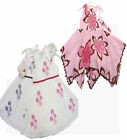 Luxury Designer Girl Dress Pink & Brown Flower or White + Blue or Pink 2-7 Yrs
