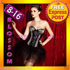 CC28 Moulin Rouge Burlesque Leopard Vegas Showgirl Fancy Dress Costume Corset