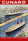 S2 Vintage Cunard Europe To America Cruise Ship Liner Travel Poster A4