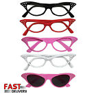 50's Retro Glasses Pink White Black Red Rock n Roll Cat Eye Ladies Fancy Dress