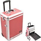 Pro Rolling Makeup Cosmetic Case 3 Drawer Salon Upgradable H-Pink Gator E6303