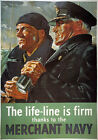 3W8 Vintage WW2 Merchant Navy Life Line British WWII War Poster A2/A3