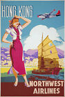 TX38 Vintage 1950's Hong Kong Travel Poster Re-Print A1/A2/A3