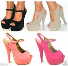 CELEB PLATFORM STILETTO HIGH HEEL SLINGBACK PEEP TOE SANDALS SHOES SIZE 3-8 NEW