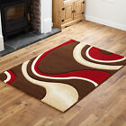SMALL - EXTRA LARGE MODERN SWIRL CURL CARVED CHOCOLATE BROWN BEIGE RED RUG
