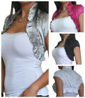 Womens Top Shrug Bolero Satin Ladies New Evening Short Cardigan Size 8 10 12