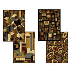 """Modern Abstract Geometric Shapes 6x8 Black Area Rug - Actual 5' 2"""" x 7' 2"""""""