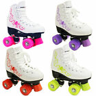 NEW FREESPORT BLOOM QUAD KIDS LADIES  ROLLER SKATES DISCO  WHITE BLACK UK